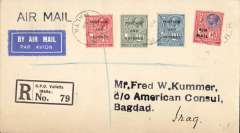 (Malta) Early acceptance of airmail from Malta to Iraq, registered (label) cover, franked Malta 6d air mail opts and 1d,2d,2 1/2d Postage and Revenue opts, postmarked Valetta, bs Alexandria 15/10, dark blue/white etiquette. Carried by sea from Malta-Egypt, then  IAW Egypt-Iraq air mail service to  Baghdad.