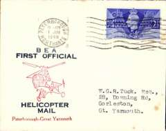 (GB Internal) Inauguration first helicopter-operated public mail service, Peterborough to Great Yarmouth, BEA official souvenir cover.