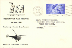 (GB Internal) Inauguration first helicopter-operated public mail service, Peterborough to Cromer, bs, printed souvenir cover, BEA