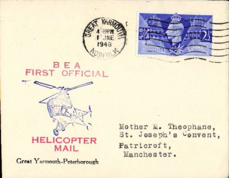 (GB Internal) Inauguration first helicopter-operated public mail service, Great Yarmouth to Peterborough, bs,official BEA souvenir cover.