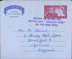 """(GB Internal) QEII 6d air letter addressed to England, cancelled fine strike undated """"Posted on board the/British Ship 'Uruguay Star'/on the high seas"""". The Blue Star Line """"SS Uruguay Star"""" 1947-1972 operated a regular service to South America, calling at Lisbon, Las Palmas, Rio de Janeiro, Santos, Montevideo and terminating at Buenos Aires, The exact date this item was posted is unknmown. Unusual."""