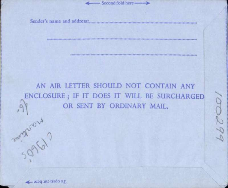 "(GB Internal) QEII 6d air letter addressed to England, cancelled fine strike undated ""Posted on board the/British Ship 'Uruguay Star'/on the high seas"". The Blue Star Line ""SS Uruguay Star"" 1947-1972