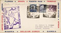 (Brazil) Pan Am clipper service to Africa,  F/F FAM 22, Belem to Leopoldville, large boxed purple cachet showing route, b/s. This strategically important service, linking Africa and the USA, opened just at the critical time when Japan attacked Pearl Harbour and the USA went to war.