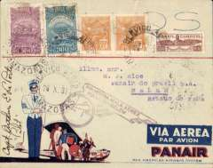 (Brazil) Opening up the Amazon, Panair F/F Manaos to Belem, bs 26/10, purple winged flight cachet, printed red/white/blue Panair Do Brasil corner cover, with winged PAA logo on flap, franked 1100R, signed by the pilot Capt. E La Porte. A splendid item.