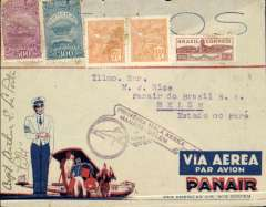 (Brazil) Opening up the Amazon, Panair F/F Manaos to Belem, bs 26/10, purple winged flight cachet, printed red/white/blue Panair Do Brasil corner cover, a litte rough along top edge and flap has bee removed neatly (see scan), franked 1100R, signed by the pilot Capt. E La Porte.