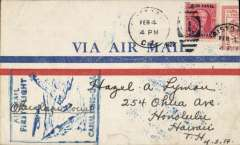 (Canal Zone) F/F FAM 5  Cristobal  to Miami, cachet, bs 13/2, airmail cover, flown by Lindbergh, Pan Am. Carried by Sikorsky S-38A amphibian.