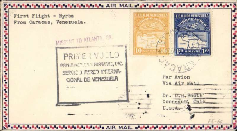 (Venezuela) Scarcer Pan Am F/F Caracas to Cristobal, bs 7/5, via Maracaibo, small check border airmail cover franked 1.70B & 10c, canc Caracas cds, official black framed flight cachet with two lower lines removed for flight mail from Caracas, see AAMC Vol 3, p47.