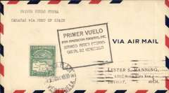 (Venezuela) Scarcer Pan Am F/F Caracas to Cristobal, bs 7/5, via Maracaibo, airmail cover franked 3.70B, canc Caracas cds, official black framed flight cachet with two lower lines removed for flight mail from Caracas, see AAMC Vol 3, p47.