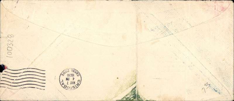 (Venezuela) Pan Am F/F MARACAIBO TO CRISTOBAL, bs 7/5, scarce printed 'Pan American Airmail and Passenger Service/From Venezuela South America/May 6, 1930/to/United States' cover with dark blue/red/yellow stripes addressed to Austria, franked 2.10B, canc Maracaibo cds, official violet framed flight cachet.