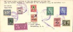 """(Surinam) FAM 6 F/F Paramibo to Georgetown, British Guiana, bs 25/9, registered (label) cover (10x 22cm) franked 54 1/2c, cancelled Paramibo/25.9.29 dated cachet, typed """"Per first air mail service of Pan American Airways Inc/lead by Colonel Charles Lindbergh on the inaugural trip in September 1929"""", flown by Lindbergh."""