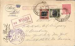 "(Brazil) NYRBA single crash cover, carried on the first regular service, Sao Paulo to Miami and on to New York. Rex Hotel S. Paul corner cover, franked 3300R, red framed ""Via NYRBA"" and framed straight line ""First Brazilian U.S.Airmail"" cachets. This cover was involved in the third crash of this flight at Bahia. The first was at Porto Alegre, and the second at Santos, where mail from Argentina, Uruguay, Porto Alegre was unloaded and, together with mail from Santos and Sao Paulo, rushed 200 miles by car, over mountain roads to Rio. Here it was transferred, along with the Rio mail, to a third machine which took off for Bahia, chased by the Rio harbour police who had a warrant to impound NYRBA's mail because of an unsettled legal dispute with ETA. See 'NYRBA's Triple Crash and Outlaw Flight Covers and Its Postal Marking', Grigore J.Jnr. Scarce item."