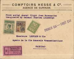 "(Surinam) FAM 6 F/F Paramibo to Port of Spain, Trinidad, no arrival ds,  Hesse &Co registered (label) cover, franked 67 1/2c, uncancelled, typed ""First aerial postal flight from Paramibo/inaugurated by Colonel Charles Lindbergh"", als 'Primer Dia-First Day' hs, flown by Lindbergh. Small non invasive closed lh edge tear, does not detract."