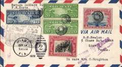 (United States) F/F FAM 9, Miami to Lima, bs 20/5, via Cristobal 16/5, airmail coer franked 57c canc Miami duplex, black framed 'Canal Zone-Chile flight cachet, Pan Am. This flight formed the 1st and 2nd leg of the FAM 9 west Coast service.