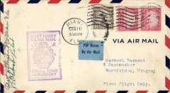 (United States) F/F FAM 9, Miami to Montevideo, b/s, via Cristobal, airmail cover franked 55c, purple framed flight cachet, Pan Am. Singed by the pilot an the postmaster.