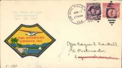 (United States) FAM 5, F/F Miami to Cozumel, bs 18/4, plain cover franked 5c canc Miami AMF cds, RARE multicoloured Pan Am label, 72x42mm USP 304 Air Transport Label Catalogue, Thomas 1987.