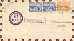 "(Panama) Lindbergh crash F/F American Clipper, unlisted dispatch from Panama City to Miami via Cristobal 25/11 transit cds, and on to Lancaster, PA 28/11, flown by Lindbergh from Cristobal to Miami on the inaugural mail flight of the American Clipper, airmail cover franked 20c, large green boxed cachet ""First Flight/The American Clipper/Canal Zone-USA/Nov 25, 1931"", Pan Am. The flight was interrupted during take-off (AAMC 31.12A). Bears postmaster's signature. Superb item, ex Krupnik."