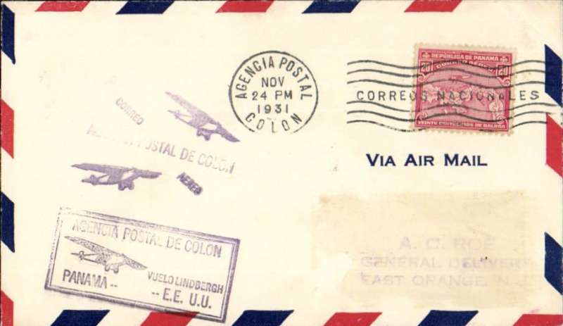 """(Recovered/Salvaged Mail) Lindbergh crash F/F American Clipper, unlisted dispatch from Colon to Miami via Cristobal and on to New Jersey, flown by Lindbergh from Cristobal to Miami on the inaugural mail flight of the American Clipper , airmail cover franked 20c, black framed """"Agencia de Colon/Vuelo de Lindbergh/Panama-EEUU"""" flight cachet, Pan Am. The flight was interrupted during take-off (AAMC 31.12A). Nice item, ex Krupnik."""