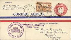 (Panama) Inaugural FAM 5, Panama to Miami, 2c PSE with additional 25c air, canc Agencia Postal Panama cds, violet two line 'Panamerican Airways Inc/Primer Vuelo' and double ring F/F cachets,flight cachet.  Because USPOD had not authorised Panama mail it was neither backstamped at Miami, nor forwarded from there by domestic airmail. This notwithstanding, such mail is an important part of FAM 5's inaugural history.