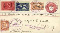 (Panama) Inaugural FAM 5, Colon to Miami, franked 2c National + 25c air,canc Agencia Postal Colon cds, bs New York 15/2, violet two line 'Panamerican Airways Inc/Primer Vuelo' flight cachet, printed cover addressed to JT Trippe, Pan Am AW Inc, New York.  Because USPOD had not authorised Panama mail it was neither backstamped at Miami, nor forwarded from there by domestic airmail. This notwithstanding, such mail is an important part of FAM 5's inaugural history.