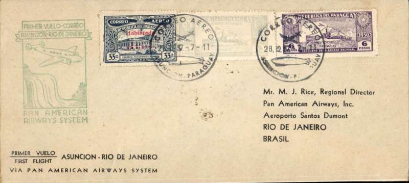 """(Paraguay) Re-establishment of an air service between Paraguay and Brazil, F/F FAM 10, Asucion to Rio, bs 28/12, franked 42P, attractive """"waterfall"""" flight cachet, printed souvenir cover. Last flight under FAM 10 canopy, FAM 5 thereafter. Pan Am. Nice item."""