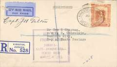 (Jamaica) Pan Am F/F FAM 6 Kingston to Santo Domingo, bs 9/8,registered (label) cover franked1/-,canc Kington reg oval Aug 6 1932 ds, violet framed official flight cachet on front, and red special arrival ds diamond cachet verso, pale blue/dark blue etiquette. Signd by the pilot Capt.J.H.Tilton.