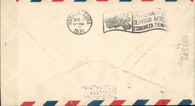 (Cuba) F/F FAM 6,  Nuevitas to Miami, airmail cover franked 10c canc Nuevitas cds, and return to Havana 7/12, large purple framed flight cachet, Pan Am. Signed by the pilot C.M.Dewey.