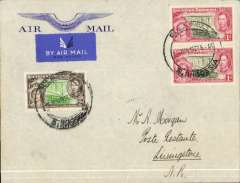 (Southern Rhodesia) F/F Bulawayo to Livingstone leg of first regular Jo'burg-Lusaka service, b/s 9/6, IA printed cover with blue winged logo in top lh corner, flown by SAA over that portion of Imperial Airway's former route and thus the first external flight of South African Airways. Scarce, only 25 flown on Rhodesian stages of this route.