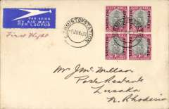 (South Africa) SAA inauguration of new service over the Imperial Airways former route from  Johannesburg to Lusaka, Germiston to Lusaka, bs 10/6, airmail etiquette cover franked 1d x4, ms 'First Flight. These were the first external flights of South African Airways.