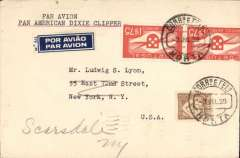 (Azores) Dixie Clipper, first passenger paying flight on FAM 18 southern route, Horta to USA, plain PC franked 1$75 x2 ( some lower edge damage on one stamp - see scan) + 50c, canc Horta 3 Jul 39, blue/whit airmail etiquette, typed 'Par Avion/Pan American Dixie Clipper' on front and 'First Passenger Flight/June 28, 1939' verso. Scarce.