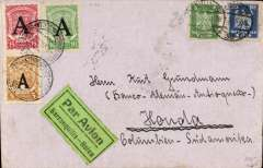 "(Germany) SCADTA ""Consular"" one cover system, Germany to Colombia, Berlin to Honda bs 10/8, via Barranquilla, 9/8, plain cover, franked Germany 25pf (to cover national postage in Colombia) tied dated Berlin cds, also 5c, 10c & 15c Scadta ""A"" 1923 '12mm' consular opts placed well clear of other adhesives (as was the practice in Germany at that time) cancelled by Barranquilla 9/8 cds, black/green ""Par Avion/Barranqulla-Neiva"" etiquette, issued in Berlin for customers in Germany and rated rare by Mair. The one cover system used a single envelope which had to include the appropriated national surface rate. This saved SCADTA time and money as they no longer had to affix the national stamp. A two page extract on Consular Mail from PG Quail's ""Colombian Airmails, 1920 Onwards"", is included with this lot."