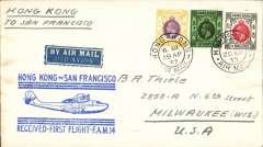 (Hong Kong) Trans Pacific F/F FAM 14 by 'Hong Kong' then 'China' Clipper to San Francisco, bs 4/5, plain cover franked $2, 50c & 30c canc Hong Kong Airmail cds, fine strike official blue flight cachet, Pan Am.