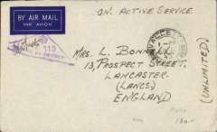 "(Malta) World War II, forces censored concessionary mail to England, no arrival ds, unfranked imprint etiquette air cover, canc Valetta/Malta dr cds, ms ""On Active Service"", violet Malta triangle with crown ""Passed By Censor/No 119"" censor mark."