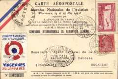 (France) Vincennes Meeting, special flight Vincennes to Bucharest, and return Bucharest to Paris, French and Roumanian stamps, attractive special souvenir card and vignette, all relevant hs's and cancellations.