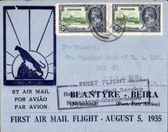 "(Nyasaland) F/F Blantyre to Beira, black boxed ""First Flight Regular Air Mail Service Nyasaland-Mozambique"", bs 5/8, souvenir ""Leopard"" cover, Rhodesia and Nyasaland Airways"
