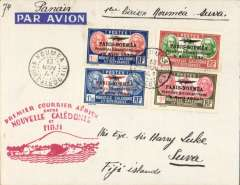 (New Caledonia) Pan Am, F/F FAM 19, Noumea to Suva, bs 13/11, imprint etiquette airmail cover franked 1933 1st Anniv. of Paris-Noumea 1F, 1.25F,1.50F & 1.75F (cat SG £40.00 used), official red flight cachet, Attractive item.