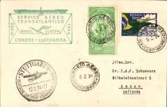 (Brazil) Inaugural flight DLH South America-Germany South Atlantic catapult service via 'Westfalen', Rio de Janero to Berlin, 'Stuttgart/12/2/34/Deutsche Lufpost/Sudamerika-Europa' arrival cds on front, card franked 400R postage + $3500 airmail canc Curitibara 6/2 cds, fine strike scarcer green boxed 'Servico-Aereo/Transatlantico/Brasil-Europa/Condor-Lufhtansa' F/F cachet. Nice item.
