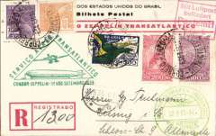 (Airship) Rio de Janeiro to Friedrichshafen, green 12/9 arrival ds on front, attractive red/white/black registered (label) souvenir card franked 2300R, green triangular Zeppelin flight cachet.