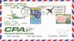 (Canada) Canadian Pacific Airlines, F/F Toronto to Athens, bs 10/9, green printed souvenir cover dual franked Canada 5c Toronto Centenary and Greece 5c, canc Toronto cds and black framed official flight cachet,