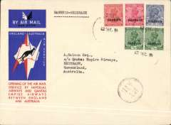 "(Bahrain) First acceptance of mail from Bahrain for Australia for carriage on the first regular Imperial Airways/Qantas Australia-England service, Bahrain to Brisbane, bs 21/12, official souvenir red/white/blue 'Kangaroo' company cover, franked Bahrain opt on KGV 1/2ax2, 2a, 3a and 3a6p, . circular ""By/Air"" cachet on face . Scarce."