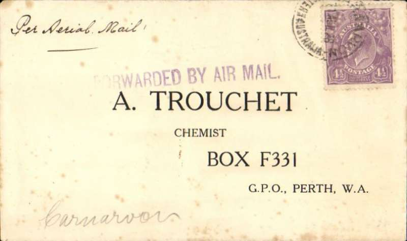"(Australia) Early internal airmail flown on Perth-Derby route, Carnarvon to Perth, no arrival ds, printed commercial cover franked 4 1/2d canc Carnarvon April 26 (the exact day of postage is illegible), violet straight line ""Forwarded By Air Mail"" rubber stamp cachet, ms 'Per Aerial Mail'. The earliest use of this stamp at Carnarvon was 27/4/26, so the cachet on this particular cover could well be a 'first day of use'. See Australian AMC #92.Scarce. Some faint toning but hardly detracts - see scan."