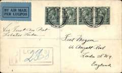 (Bechuanaland) RARE first acceptance of airmail from Bechuanaland for carriage on the F/F Regular Service from Cape Town to Croydon, Lobatsi to London, bs oval registered london arrival of 16 february, via Kimberley 27/1 and Johannesburg 27/1, registered (hs) cover franked 1/4d (rare franking - almost certainly stanley gibbons numbers 95 strip of three & single - catalogued £220 as basic stamps alone), canc by fine double ring Lobatsi cds, ms 'Via First Air Post/Lobatsi-London', This is also a crash cover. The F/F carrying it  from Cape Town to London crashed near Broken Hill, so the mail had to await the second flight - hence its arrival in London on 16/2. A superb item in fine condition.