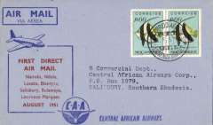 (Mozambique) F/F Lourenco Marques to Salisbury, bs 10/8, light/dark blue souvenir cover with red printed cachet of route, franked 1$ x2, canc Lourenco Marques cds, Central African Airways
