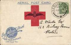"(South Africa) Our Day' Red Cross Aerial Post, Benoni Flight, Transvaal  'Small Wings'  ""Make Your Sixpence Fly"", light blue/matt white card, franked 1/2d(small top rh corner defect), tied superb strike of aerial pos/1 DEC 18 cds. Flights were made around the Cape Penninsula & Transvaal during November-December 1918 in aid of the red cross. this card addressed to Pretoria has a message on reverse & was carried from Benoni."
