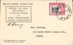 "(Fiji) F/F Qantas inaugurated flying boat service, Suva to Sydney, bs 20/11, official ""Coriolanus VH AGB"" souvenir cover with company logo on flap, franked 1/5d., signed by pilot, O Denny."