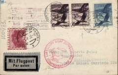 (Airship) Austria acceptance for LZ 127 first South America Flight, Seville first landing, 19/5 arrival machine cancel on front,  B&W PC pc showing Graf Zeppelin flying over cathedral with very tall spire, franked Austria 1S 84g, canc Vienna cds, red circular flight confirmation cachet.