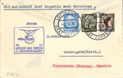 (Airship) Third South America Flight, mail dropped at Barcelona, bs 3/7, plain cover franked German 1M 50 canc ON BOARD cds, blue framed flight confirmation cachet, red 'Friedrichshafen (Bodense)-Barcelona' hs.
