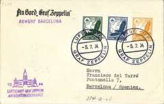 (Airship) Third South America Flight, Argentina mail dropped at Barcelona, bs 5/7,'An Bord Graf Zeppelin' corner cover franked German 1M 50 canc ON BOARD cds, violet flight confirmation cachet, violet 'Abwurf Barcelona' hs.