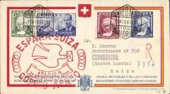 (Spain) Special flight, Spain to Switzerland, Madrid to Basel, red cross cover, large red flight cachet, Swiss Airmail Catalogue  #SF 48.6 cat 125 SwF.
