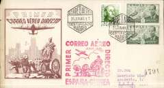 (Spain) Iberia, F/F Madrid to Bata, Guinea, bs 30/6, brown/cream souvenir cover franked P4.15, large red flight cachet.