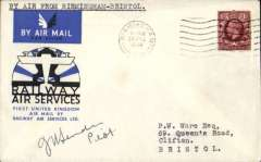 (GB Internal) RAS F/F eighth GB Inland Airmail Service, Birmingham to Bristol, official cover, flown all the way on Aug 20th, signed by the pilot F/L J.H.Sender.